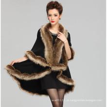 Mulheres moda acrílico de malha faux pele inverno xale (yky4459)