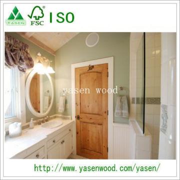 Porte en bois de pin noueux intérieur de panneau supérieur de 2 panneaux