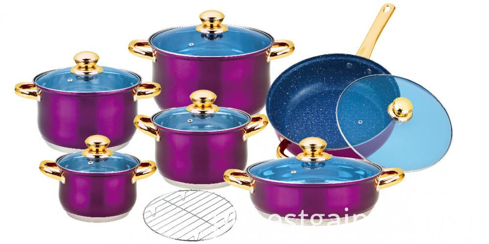 Purple Painted Cookware Set