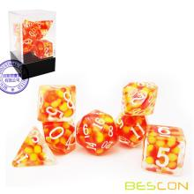 Bescon Firey Pearl Polyhedral Dice Set, Fire Pearl Poly RPG Dice set of 7