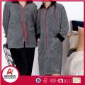 Popular melange yarn grey coral fleece solid zipper bathrobe