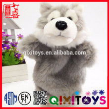 Wolf Animal Design Plastic Eyes and Nose Realistic Animal Hand Puppet for Sale