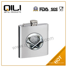 Stainless steel hip flask with emblem