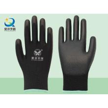 Forro de poliéster negro con guantes de seguridad recubiertos de poliuretano negro