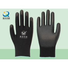 Черный полиэфирный вкладыш с черными защитными перчатками PU