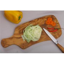 Tabla de cortar de madera de olivo multifuncional con mango