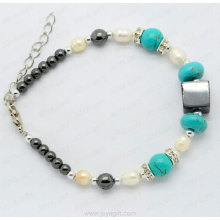 turquoise hematite pearl bracelet