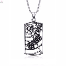 Fashion Designer Stainless Steel Roses Spider Web Hollow Pendant