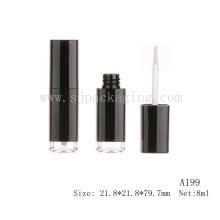 A199 Tubo de lipgloss vacía de plástico negro redondo tubo de envasado cosmético tubo redondo de lipgloss