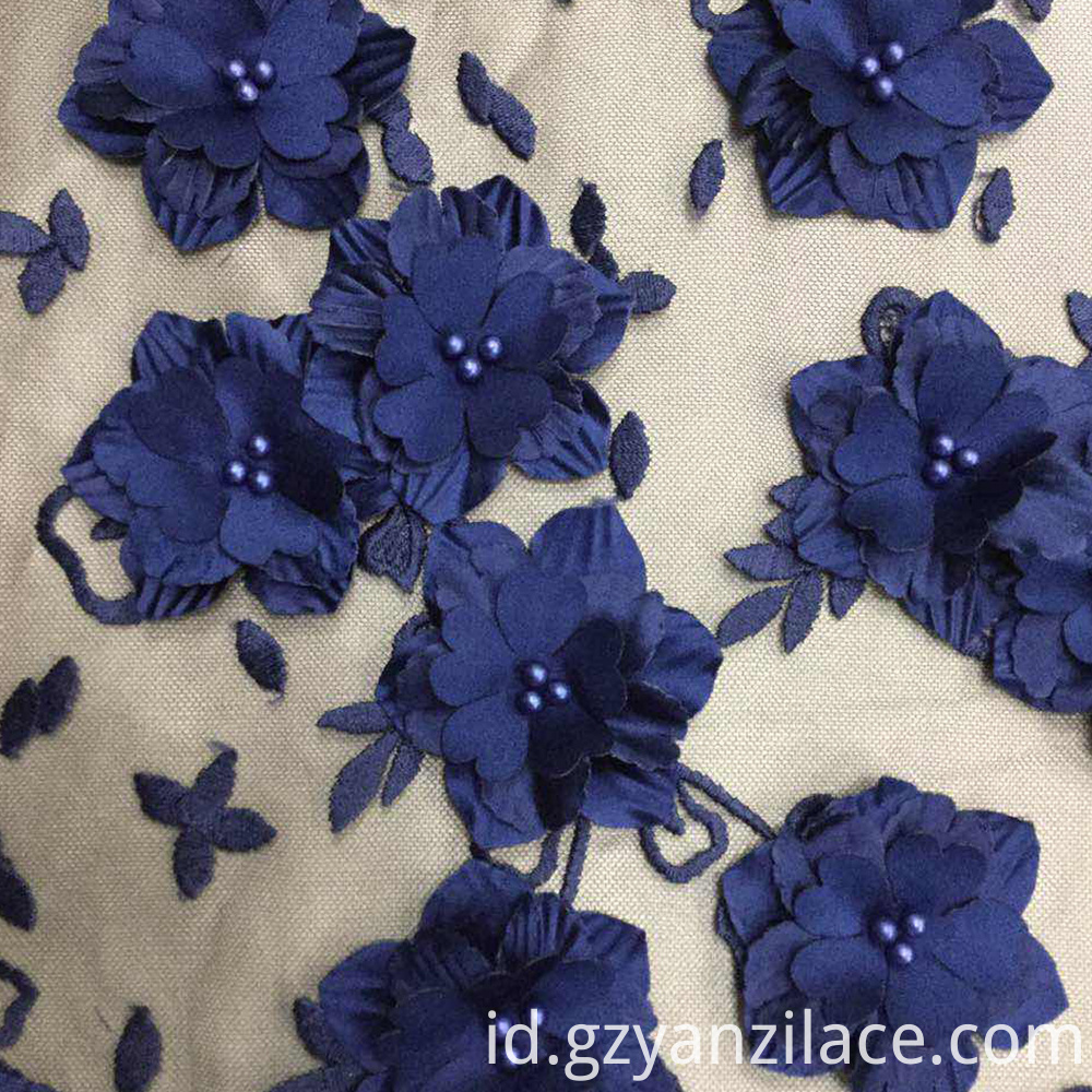 blue flower lace fabric