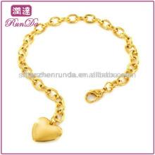 Três cores aço inoxidável polido coração pulseira de charme