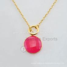 Natürliche Vermeil Gold Lünette Halskette Handgefertigte Silber Lünette Einstellung Halskette