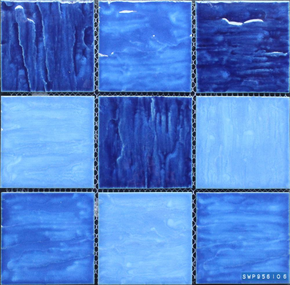 Blue Color Mixed Bumpy Surface Porcelain Swimming Pool Mosaic