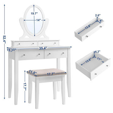 European white 4 drawers dresser table set with mirror