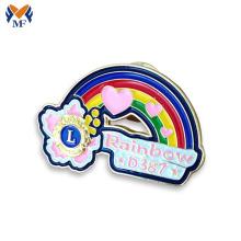 Esmalte suave arco iris personalizado solapa pin insignia