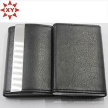 Porte-cartes de visite en cuir noir