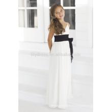 -Линии Белый спагетти ремни V-образным вырезом без рукавов платье девушки цветка Подгонянная FGZ12 Белый цветок девочки платья Великобритания