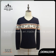 Suéter de manga larga con cuello en v para hombres