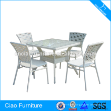 Catering venues white rattan dining table and chair