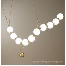 Energy saving modern metal glass chandelier light for restaurant