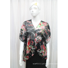 Senhora moda flor impressa poliéster seda chiffon t-shirt (yky2212)