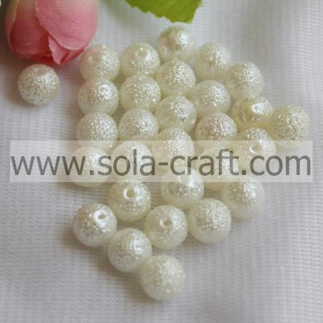 Decoration Hot Sale 8MM White Acrylic Iridescent Beads Artificial Pearl Round Wrinkled Beads