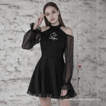 OPQ489- PUNK RAVE Knit T-shirt with collar black lace long sleeve  dress casual summer dress
