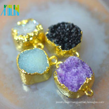 Rough diamond natural freeform pendant with gold electroplate edge