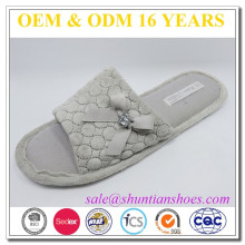 pretty pattern TPR sole open toe women indoor slipper with decorate bowknot