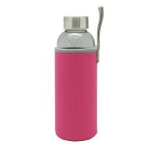 Tragbare einwandige Wasser Glasflasche mit Schutztasche