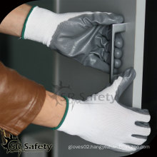 SRSAFETY 13G knitted nylon coated nitrile gloves/nitrile glove manufacturers