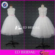 ED Bridal Real Sample Appliqued Ball Gown Ankle Length White Flower Girl Dress With Pink Ribbon 2017