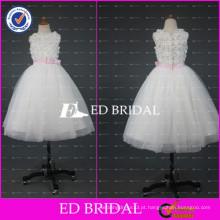 ED Bridal Real Sample Appliqued Vestido de Baile Comprimento do tornozelo White Flower Girl Dress With Pink Ribbon 2017
