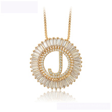 34444  Latest design xuping fashion necklace 18K gold color letter J  luxurious necklace for women