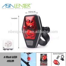 Asia Leader BT-4890 AAA fuente de alimentación de la batería 4 Light Level LED bicicleta luz de la cola
