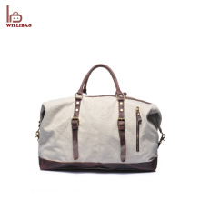 Durable Men Canvas Luggage Bag Leather Travel Duffle Bag