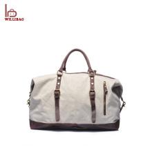 Saco de Duffle durável do curso do couro do saco da bagagem da lona dos homens