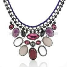 Silk Ribbon Claw Chain Oval Gemstone Charms Handmade Necklace