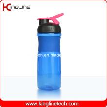 Garrafa de plástico com agitador de 750 ml com misturadora de misturador de aço inoxidável