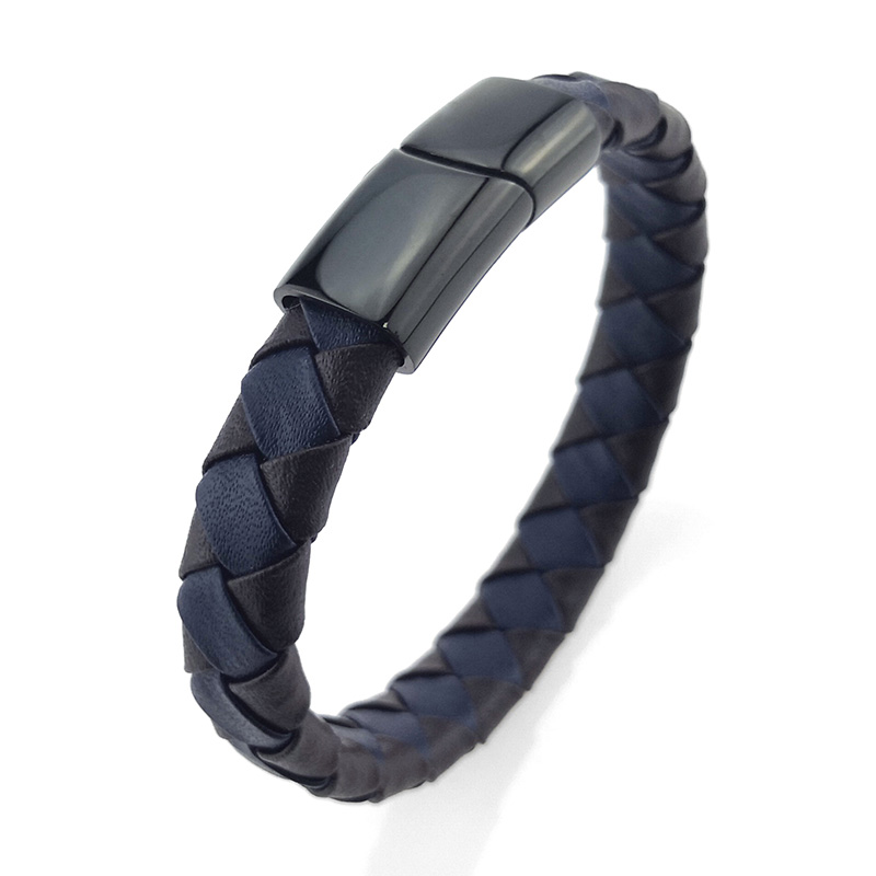 Mens Woven Leather Bracelet