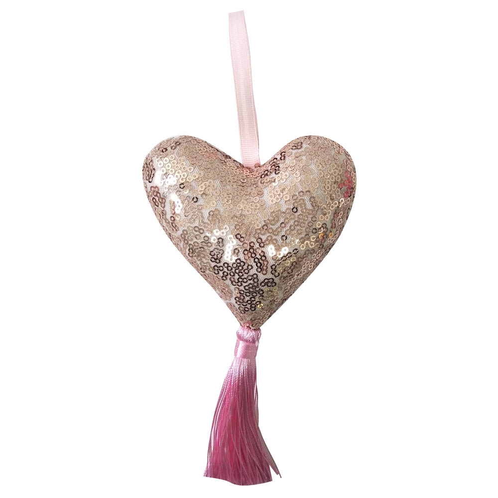 Pink Christmas Heart With Tassels