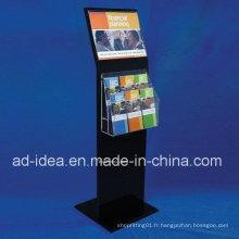 Présentoir acrylique noir de vente chaude pour le magazine, brochure