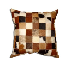 Natural Leather Cowhide Patch Pillow Without Fillings