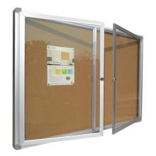Quadro de avisos de 2 janelas montado na parede com fechadura de chave