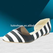 Mulher moda casual sapatos lisos com arco Stripe print moda bailarina sapato