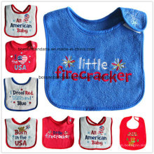 OEM Produce Customized Design Printed Cotton Terry Baby Drool Feeder Baby Bib