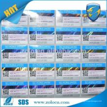 Etiquetas de código de barras holográficas personalizadas personalizadas da venda da China