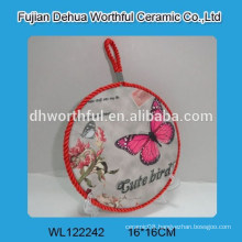 Butterfly design ceramic pot holder with lifting rope