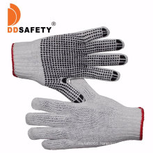 Black Cotton /Polyester Knit Knitted Garden Work Gloves with PVC Dots, Gripper DOT Gloves