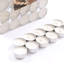 Vela blanca de 14g Tealight con soporte de aluminio